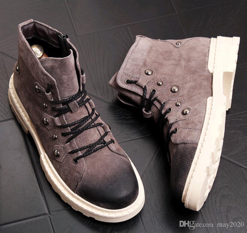 los hombres altos zapatos de diseñador ocasional botas cortas Eather holgazanes de tobillo de la manera botas para hombre zapatos de hombre