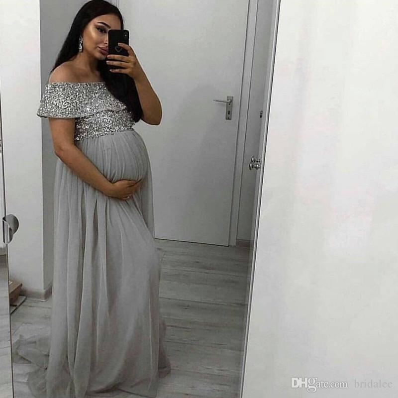 Charme de l'épaule Sliver enceinte soirée Robes longues Robes de soirée arabe Dubaï Paillettes Top robe robe de soirée formelle de soirée