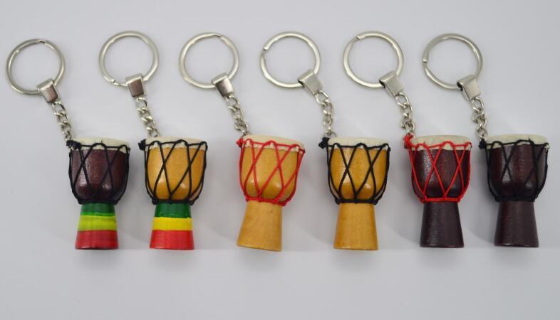 طبل الأفارقة سلسلة المفتاح آلات موسيقية سلاسل المفاتيح اللون مختلطة
