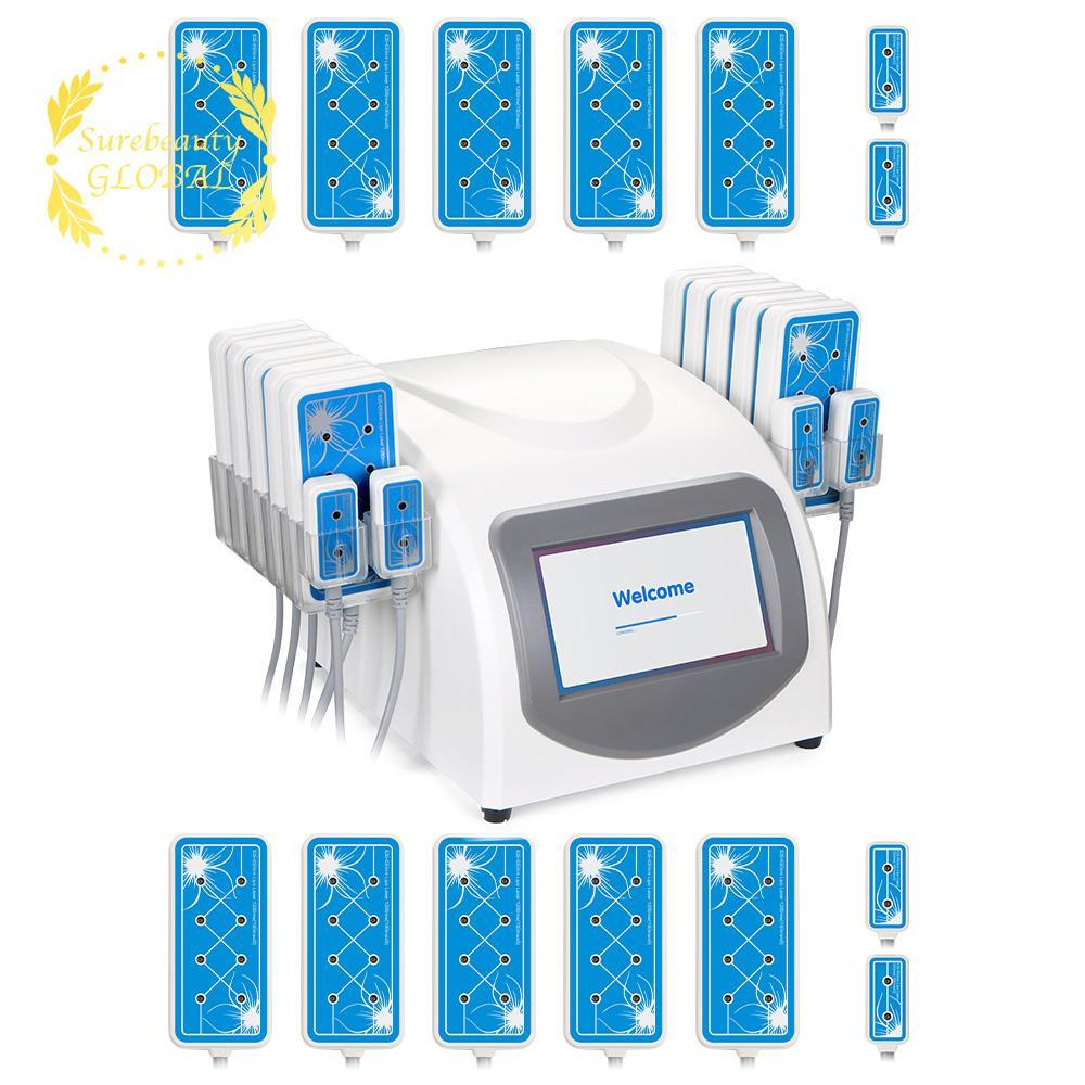 Surebeauty Amincissant Pro 160MW 650nm LLLT Lipo Diode cellulite Suppression de perte de poids beauté minceur machine 14 Pads