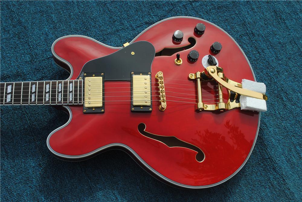 مخصص متجر نصف جوفاء الجسم أحمر الجاز 335 الأجهزة الغيتار الكهربائي الذهب، ثقوب مزدوجة f، أسود بيكاندو، شحن مجاني!