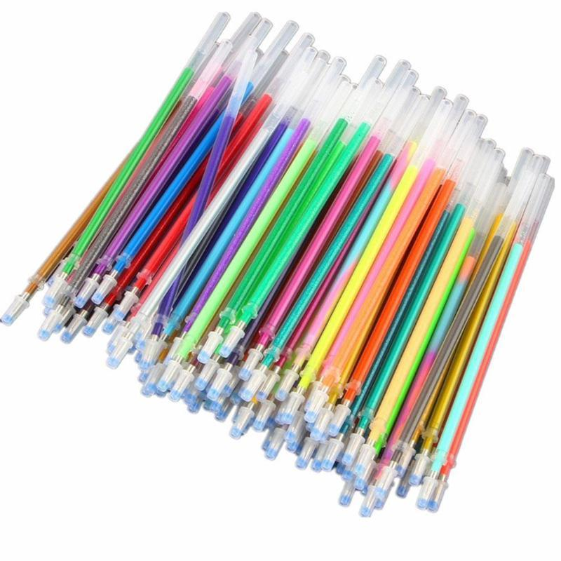 100 Couleurs Recharges Aquarelle Neon Glitter Pastel Art Remplacer Recharges Gel Pen Fournitures scolaires Bureau