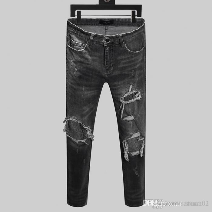 Femininos marca Hot New Jeans Masculinas perfuradas Jeans designer de moda magro jeans homens Tendência quatro calças temporada h324567