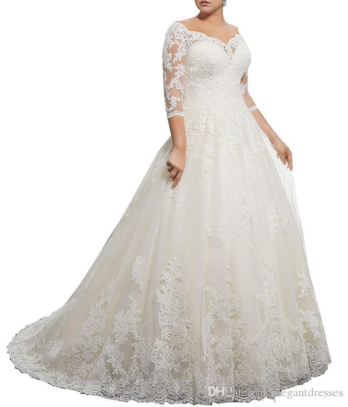 Stunning con scollo a V inverno 3/4 manica lunga in pizzo abiti da sposa appliques plus size palla personalizzata vestido de novia abito da sposa formale arabo