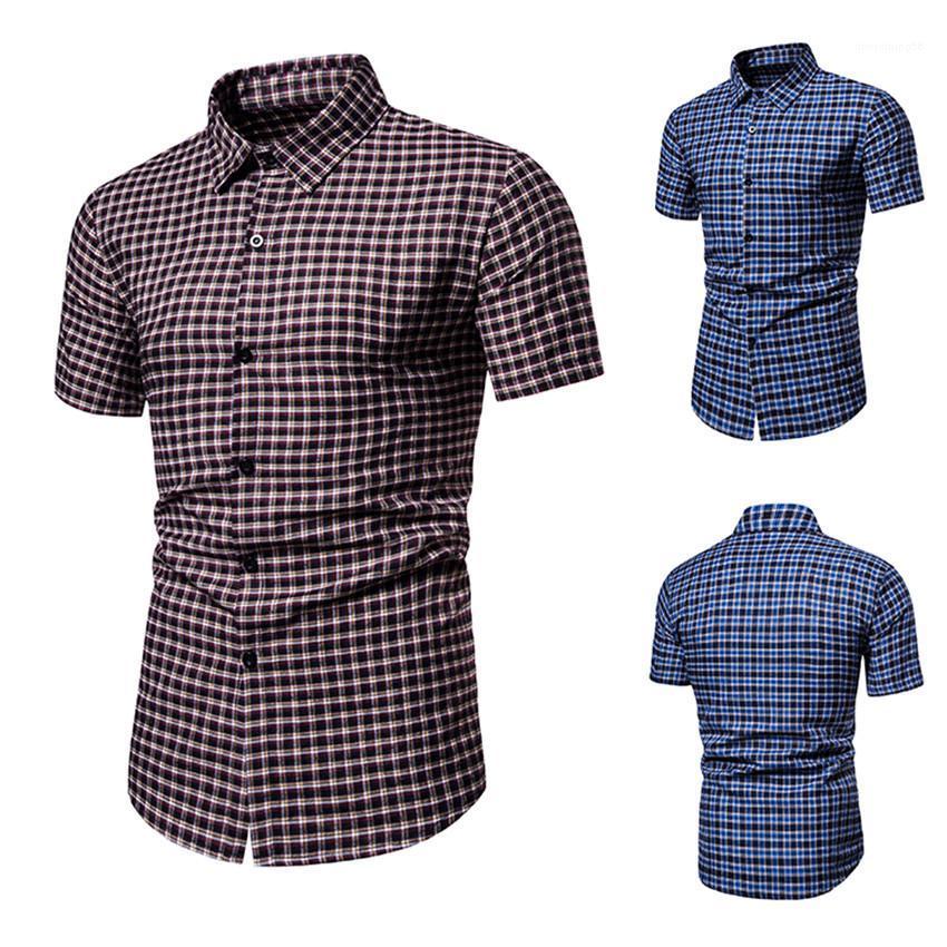 Programador da manta Impresso manga curta lapela pescoço Homme Camisas Casual Magro Masculino Tops Designer Mens Verão Shirts