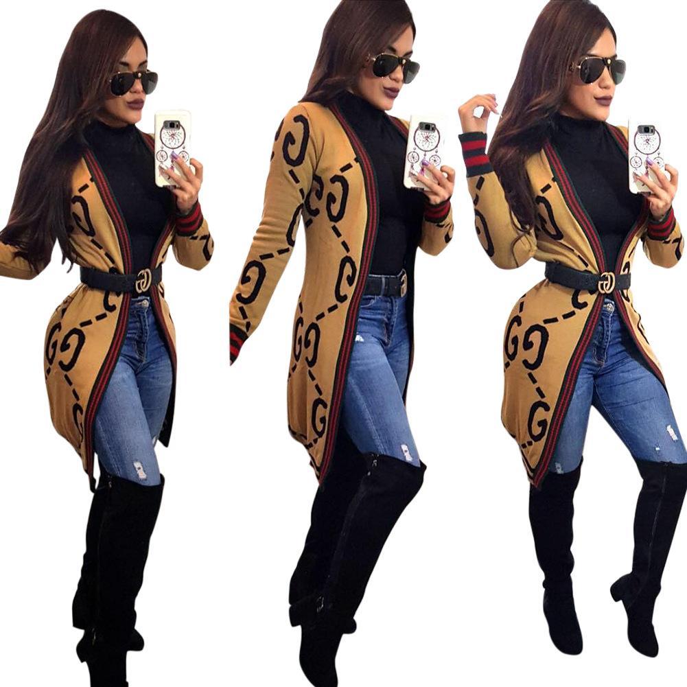 العلامة التجارية الجديدة تصميم المرأة معطف طباعة الماركات أبلى قميص طويل جاكيتات ومعاطف زائد الحجم