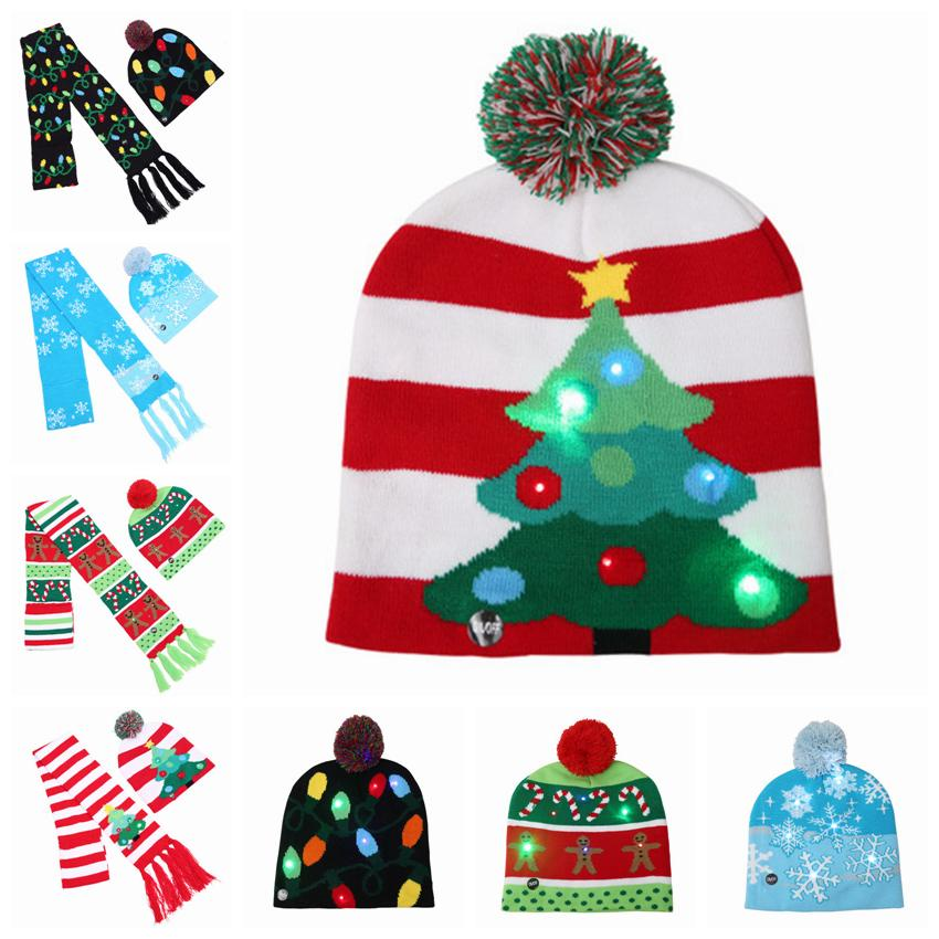 LED Christmas hat knitted Hat Scarf kid Adults Santa Claus Snowman Reindeer Festivals Hats Christmas Decorations party hats 8 Colors ZZA880