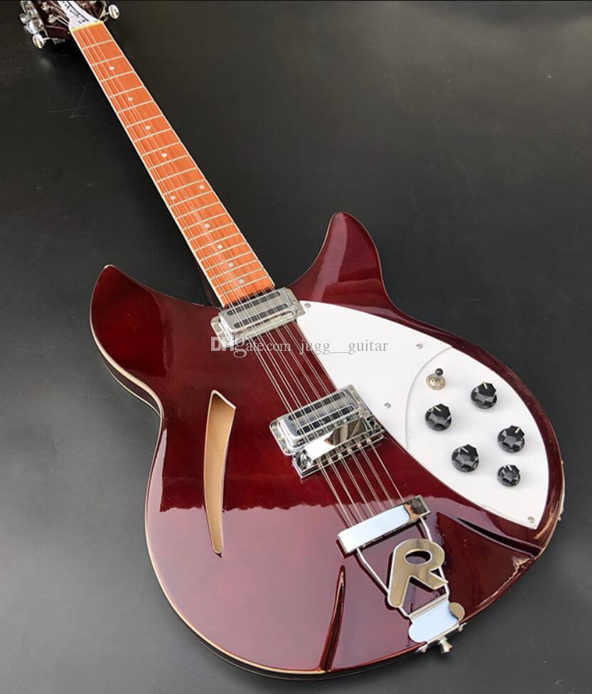 330 360 12 RIC Strings Vin rouge du corps creux semi guitare électrique Vernis Brillant Fingerboard, Dot Inlay, 2 Grille-pain Micros, deux prises de sortie