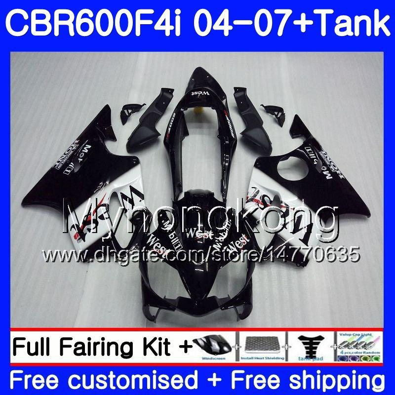 Body For HONDA CBR 600F4i Black west stolck CBR600 FS CBR600F4i 04 05 06 07 281HM.4 CBR 600 F4i CBR600 F4i 2004 2005 2006 2007 Fairings kit