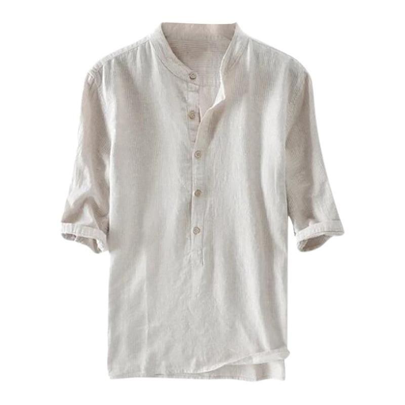 Hombres Camisas ocasionales al aire libre casero del botón del color puro de la media manga de la blusa retro Tops Camisas de lino Breathalbe Sociales Chemise hombre