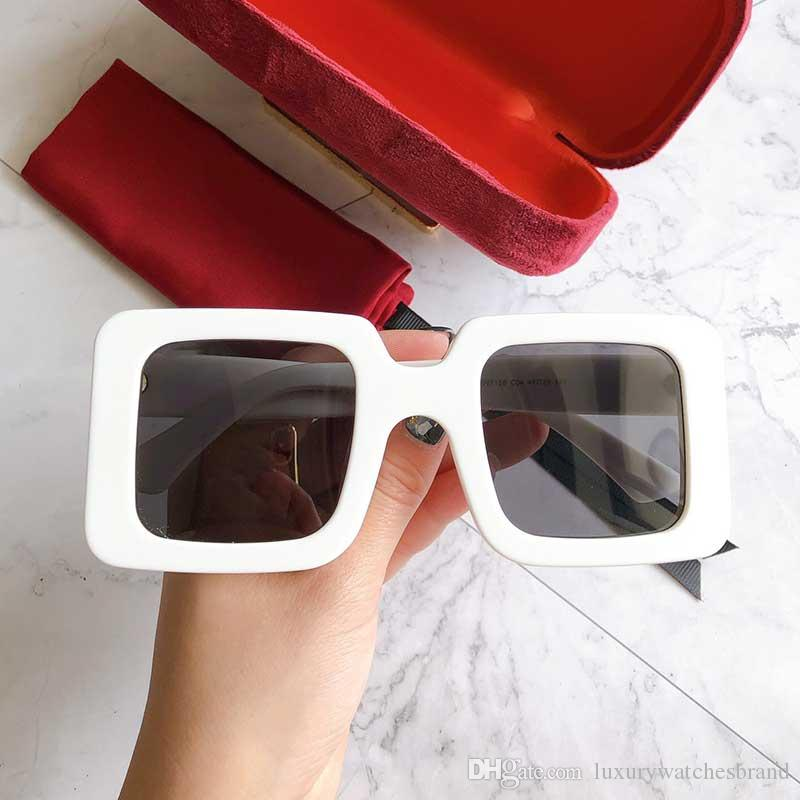 Yeni moda bayan marka tasarımcısı orijinal kutusu ile 0713S basit kare çerçevenin güneş gözlüğü defile tasarım yaz stili güneş gözlüğü