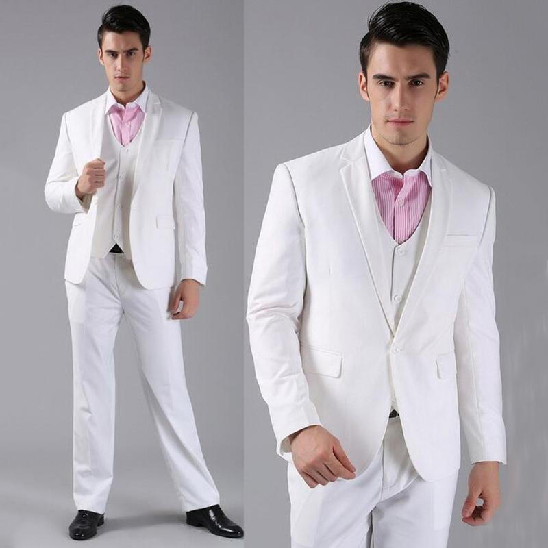 Tailor Made White Wedding Suits for Men Blazer Slim Fit Groom Tuxedos Handsome Groomsmen Prom Wear 3 Piece Jacket Pants Vest Evening Party