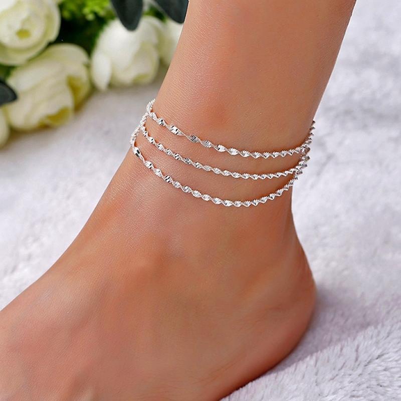 Wome Çok Katmanlı Gümüş için Moda Basit Seksi Yılan Zinciri Halhallar Bilek Bilezik Takı Ayarlanabilir Kadınlar Bilek Ayak Takı