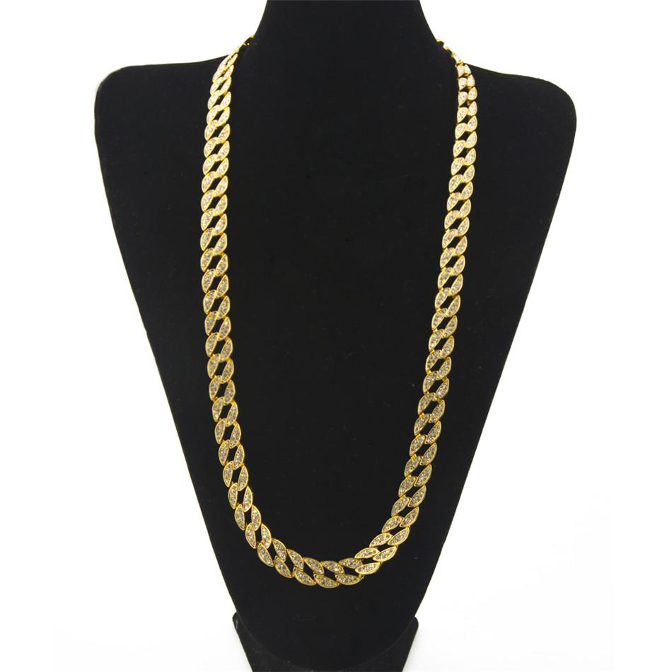 """Rapper Hip Hop Men's Necklace Bling Iced out 30"""" CZ Rhinestone 15mm Miami Cuban Link Chain Necklace Fashion Jewelry"""