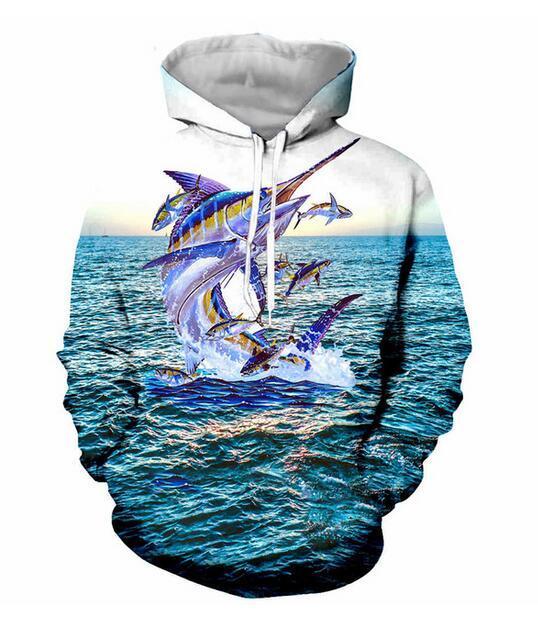 Новая мода Женщина / Мужчины синего меча рыба Повседневного 3d Printed Crewneck Толстовка Толстовка Unisex Sportwear пальто бесплатной доставка F0316