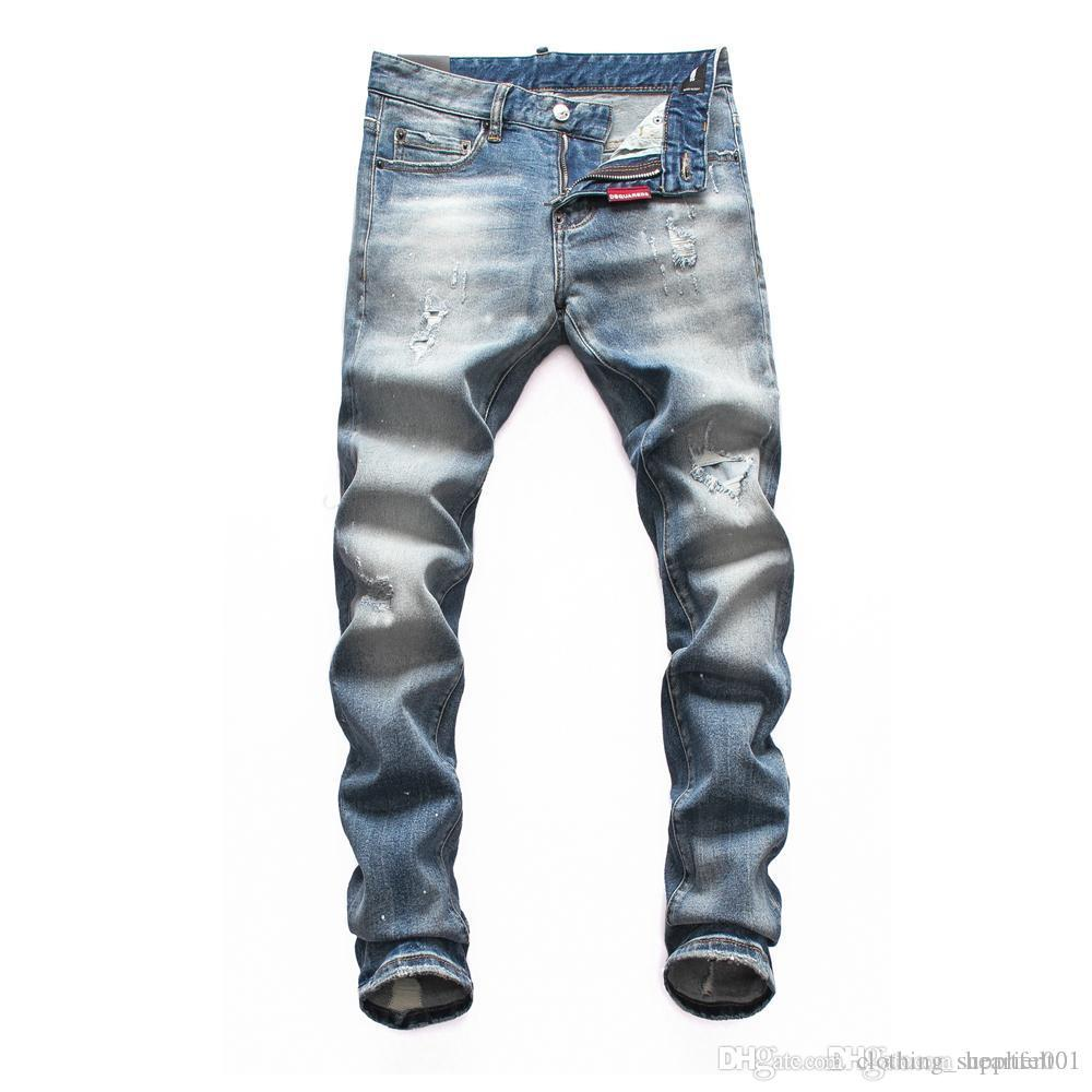 Marque Jeans Hommes de luxe de Jeans Baggy Biker taille haute Ripped Rock Revival Noir Skinny Hommes Jean Long Pantalons Pantalon 033