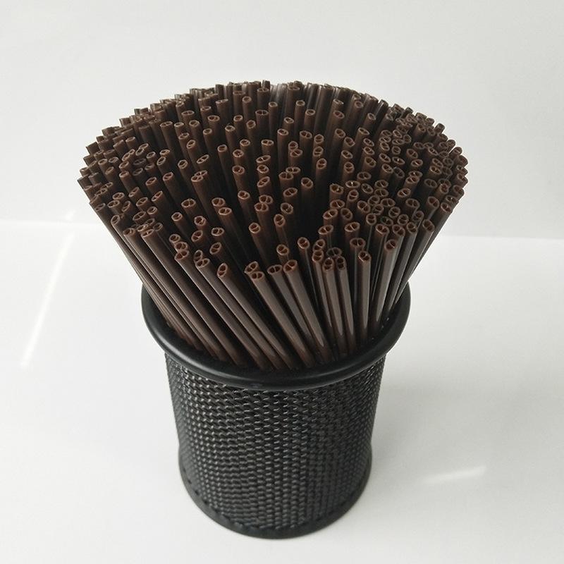 Yooap Tek kahvenin samanları Kahve karıştırma çubuğu Sıcak içecek İki delikli suyu iki delik 500 sopa Straws