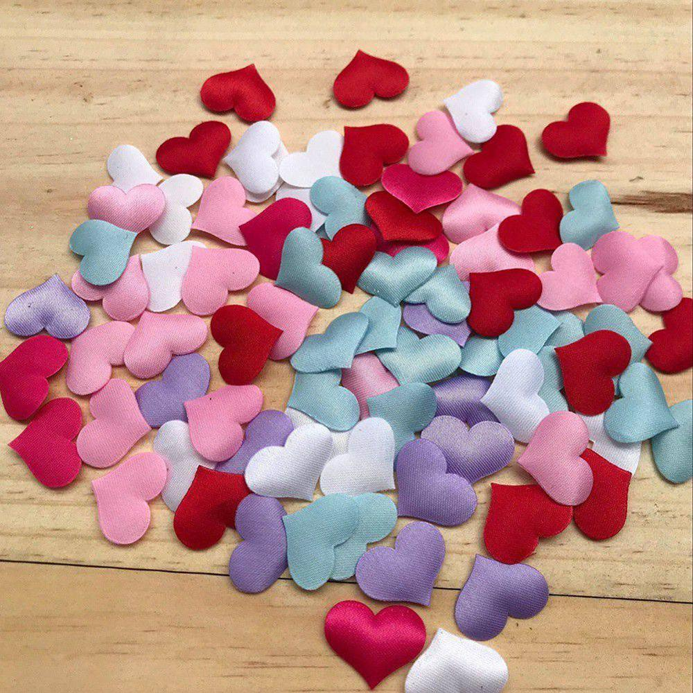 Wedding Layout Petals Silk Sponge Satin Fabric Cute Heart Petals DIY Romantic Heart Scrapbook Accessories For Wedding