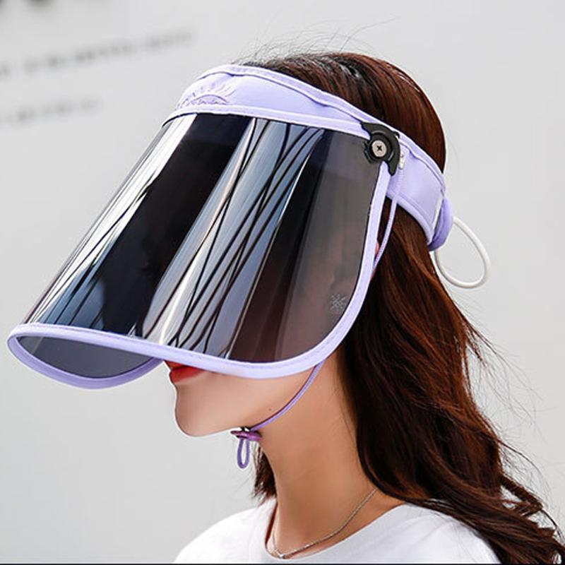 Ajustable de los sombreros de Sun verano de las mujeres de Protección Solar anti-UV Caps plegable Anti-escupir sombrero femenino del verano del casquillo del sombrero del sombrero Mujer