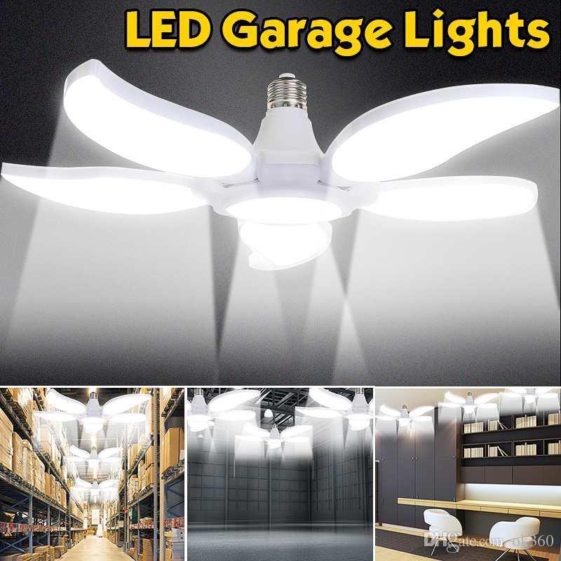 45W 60W 75W E27 Led Fan Foll Blue Garage Light Shop Work Lights Home Ceiling Fixture Deformable Lamp Industrial Lamp