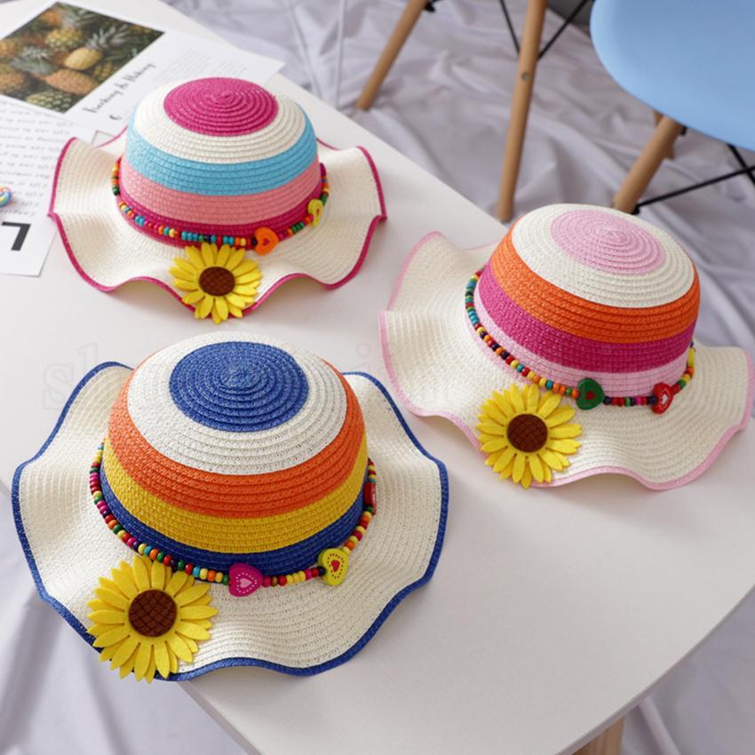 Enfants de tournesol Chapeau de paille 5 couleurs enfants Été arc coloré plein air Plage large Brim chapeaux de soleil Cap Voyage OOA-6966