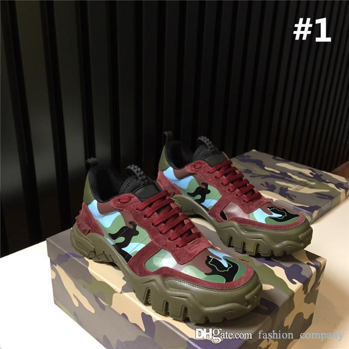 Homens e mulheres com o mais recente cor correspondentes elementos de camuflagem clássicos do couro costura sneakers rebite cores mistas, com caixa