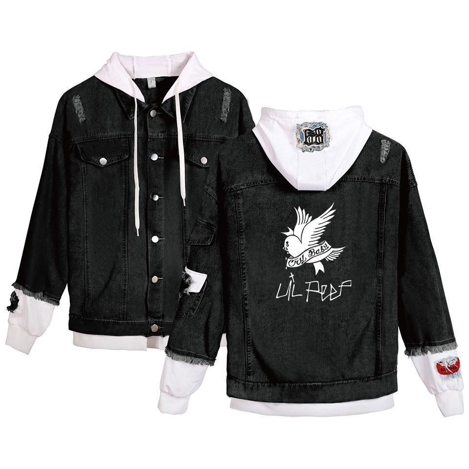 Kot ceket erkekler Lil Peep Denim ceket erkekler Rüzgarlık artı uzun ceket sıcak giysiler kovboy siyah moda dış Giyim Erkek 4XL