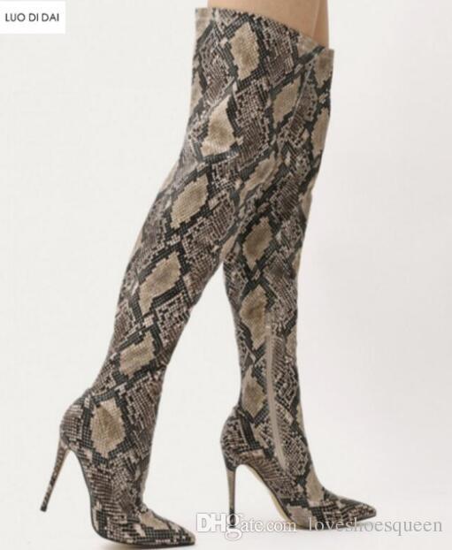 2019 moda ponta do dedo do pé sobre o joelho botas de cano alto mulheres runway impressão de pele de cobra botas de couro coxa alta botas de salto fino sapatos de festa