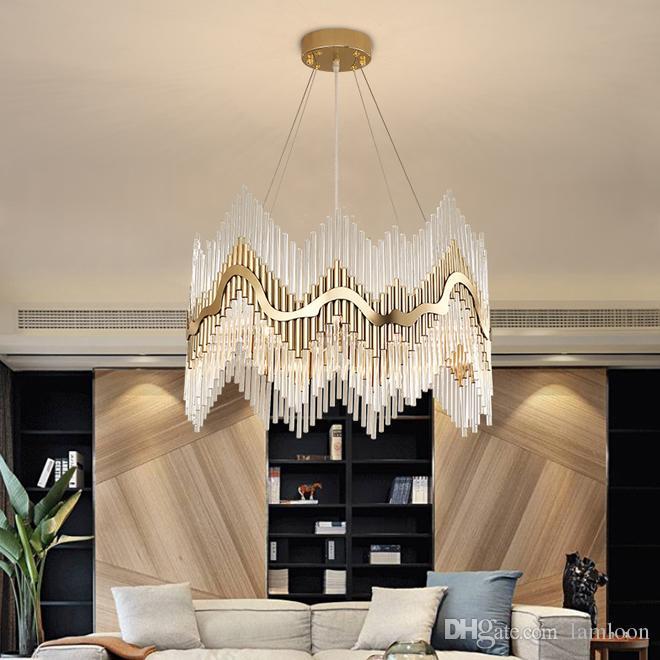Novo design de luxo lustre de cristal lustres de iluminação pingente de ouro luzes levou lâmpadas penduradas para foyer sala de estudo quarto