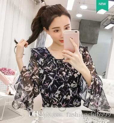 Freies Verschiffen-neue Ankunfts-heiße Verkaufs-spezielle Art- und Weisefrau-koreanische Version-Fee lose Chiffon-mit Blumen gekräuselte Trompeten-Ärmel-Spitzen-Gezeiten-Hemd