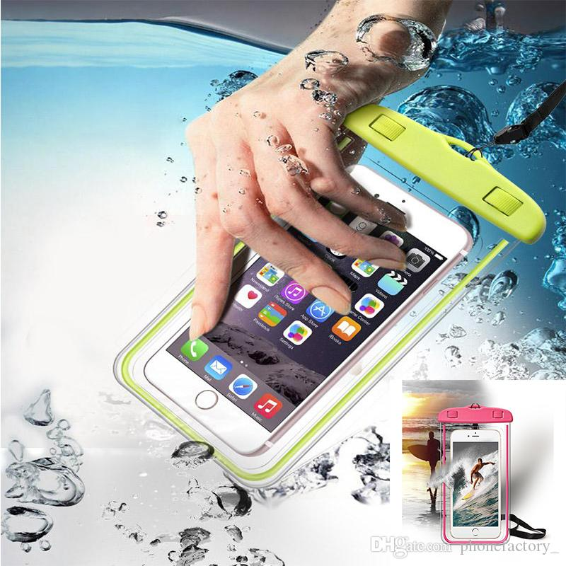 Universal para iphone 7 X XR XS samsung S10 S8 Funda impermeable Funda para teléfono móvil Bolso seco impermeable para teléfono Bajo 6.0 pulgadas
