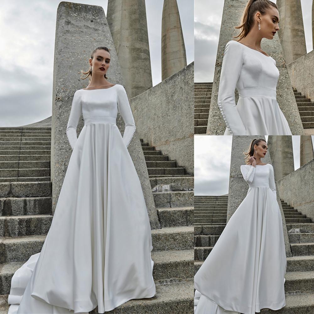 Elbeth Gillis Une ligne Robes de mariée Jewel cou à manches longues en satin dentelle plage dos nu balayage train robe de mariée Robes de mariée Robe Robes