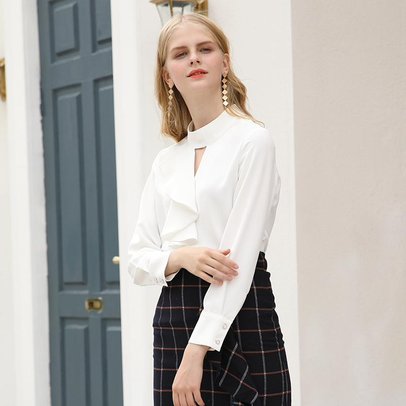 Otoño 2019 nuevo desgaste de cuello alto de las mujeres profesionales rizó la blusa de manga larga temperamento OL femenina de la camisa blanca