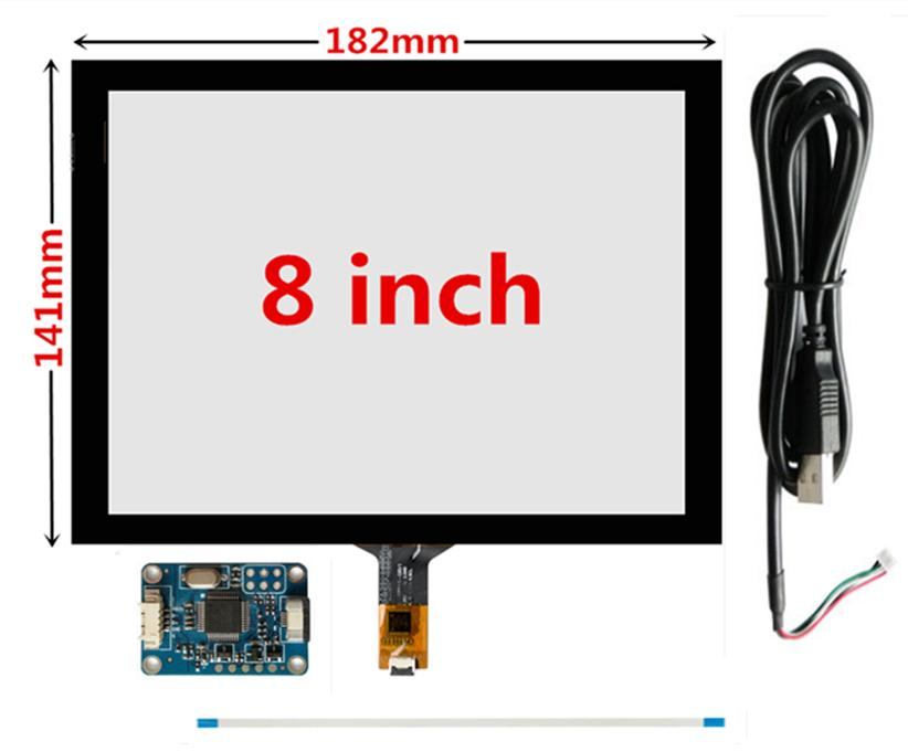 8 inç 182mm * 141mm Ahududu Pi GPS navigasyon Kapasitif Dokunmatik Sayısallaştırıcı Dokunmatik ekran paneli Cam USB Sürücüsü kurulu