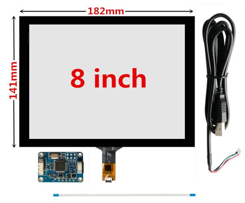 182 milímetros * 141 milímetros Raspberry Pi GPS de navegação de toque capacitiva digitador painel de toque de tela de vidro placa USB Driver 8 polegadas
