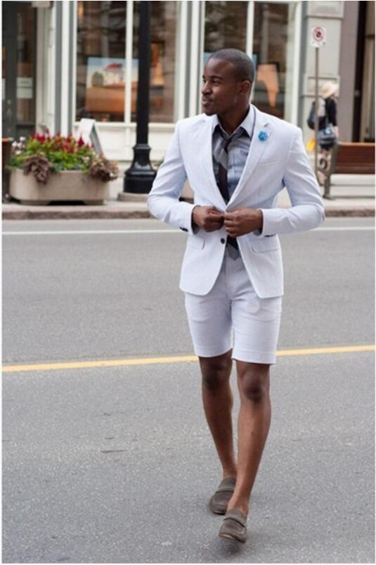 Nuevo elegante traje de hombre de boda blanco con pantalones cortos Moda Negocio Terno Masculino yong Mens Summer Wear Suits Sets CY04