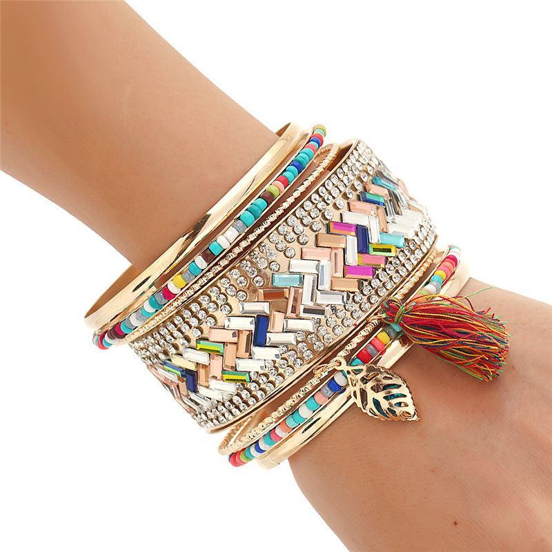 new multicolor fringe bracelet&bangles set ethnic tirbal arm cuff circels set Gold-color crystal tassel women bracelet