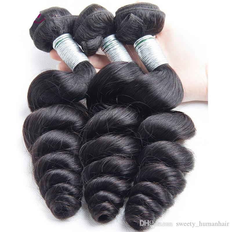 9A Brazilian loose wave Virgin Hair 3 Bundles loose wave Human Hair Extensions Peruvian Malaysian Indian Virgin Hair Loose Wave Bouncy Curl