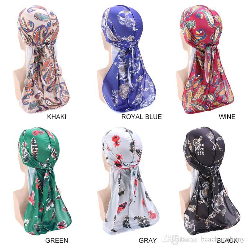 Tied Bandana Turban Hat 2020 Floral Print Silk Feel Long Headwraps Chemo Caps Headcovers Men Women Head Scarf Sleep Hair Cover Hat Headwear