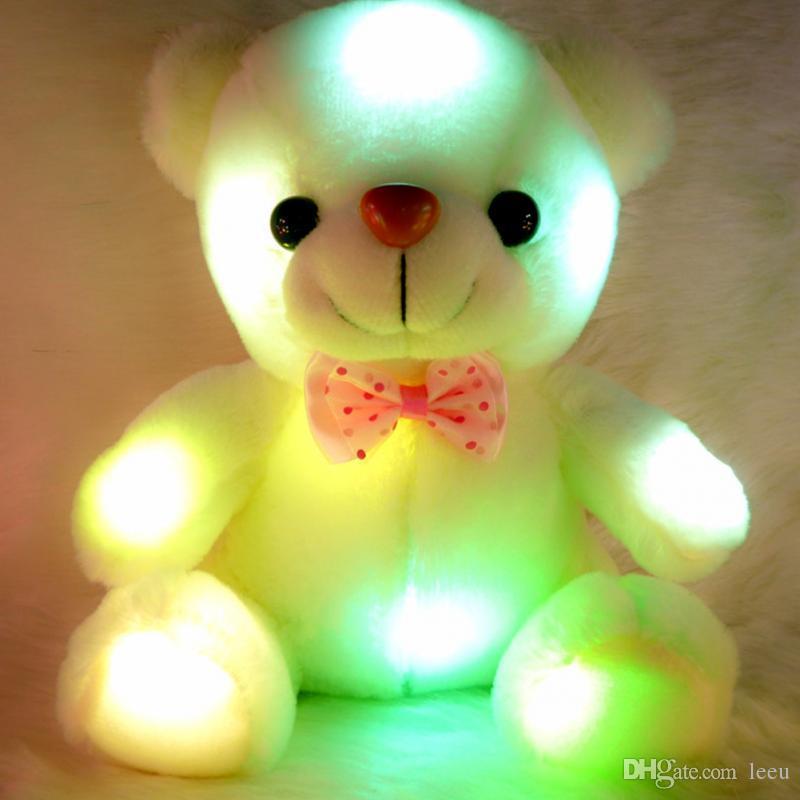 Colorido LED flash luz urso boneca pelúcia animais de pelúcia brinquedos tamanho 20cm 22cm presente urso para crianças presente de Natal recheado brinquedo de pelúcia