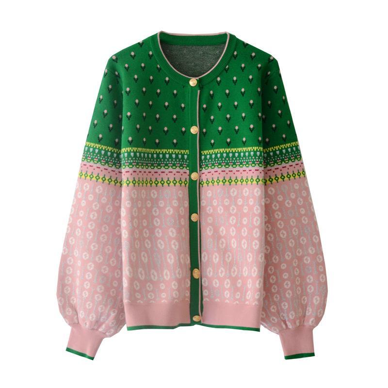 Envío Gratis 2020 primavera verde estampado Floral bordado primavera mujer Cardigan marca mismo estilo suéteres de mujer 031215