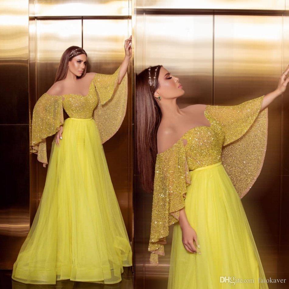 Amarillo Bling Bling con lentejuelas una línea de vestidos de baile Apagado Hombro piso-longitud formal del partido del vestido vestidos de noche robe de soirée Abendkleider