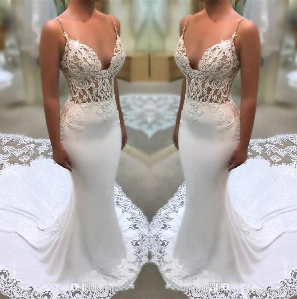 2019 vestidos de boda de la sirena correas espaguetis de encaje de tul ilusión apliques tren de la corte Vestidos de novia de satén robe de mariée BA9941