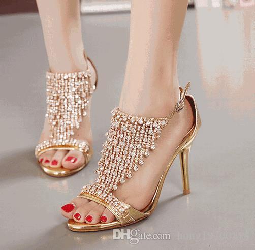 Sommer-Frauen Ultra High Heels Sexy Wasser-Diamant-Pumpen-Stilett-Partei-Schuh-Frau Heels Prom Pumpen Qualitätsfrauen-Sandelholz-Größe 35-39