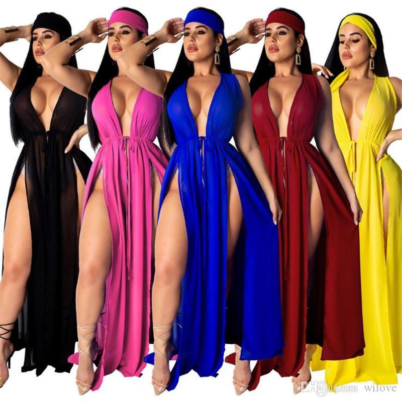 Новый женский Sexy Swimdress Купальники Cover Up Split Swimdress дамы лето купальник Пляжная одежда Бикини Coverups Swim одежды