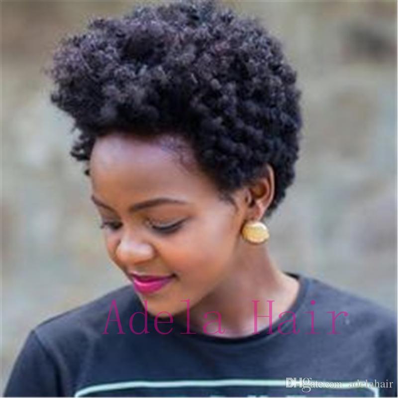Brezilyalı Kısa Afro kinky Kıvırcık Remy İnsan Saç Peruk Siyah Kadınlar Için Hiçbiri Dantel Tam Makine Yapılan kıvırcık İyi Bakire Insan saçı peruk