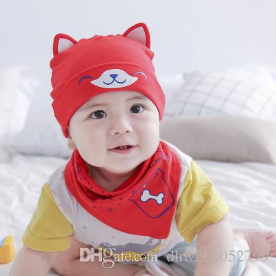 New Cotton Cap Baby Hat Bonnet Cartoon Baby Cap Single Cap & Saliva Towel set Baby Hat