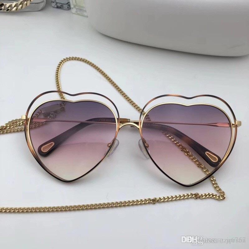Novo designer de moda mulheres óculos de sol em forma de Coração frame oco com moldura clara lente colorida ultra-leve eyewear 131