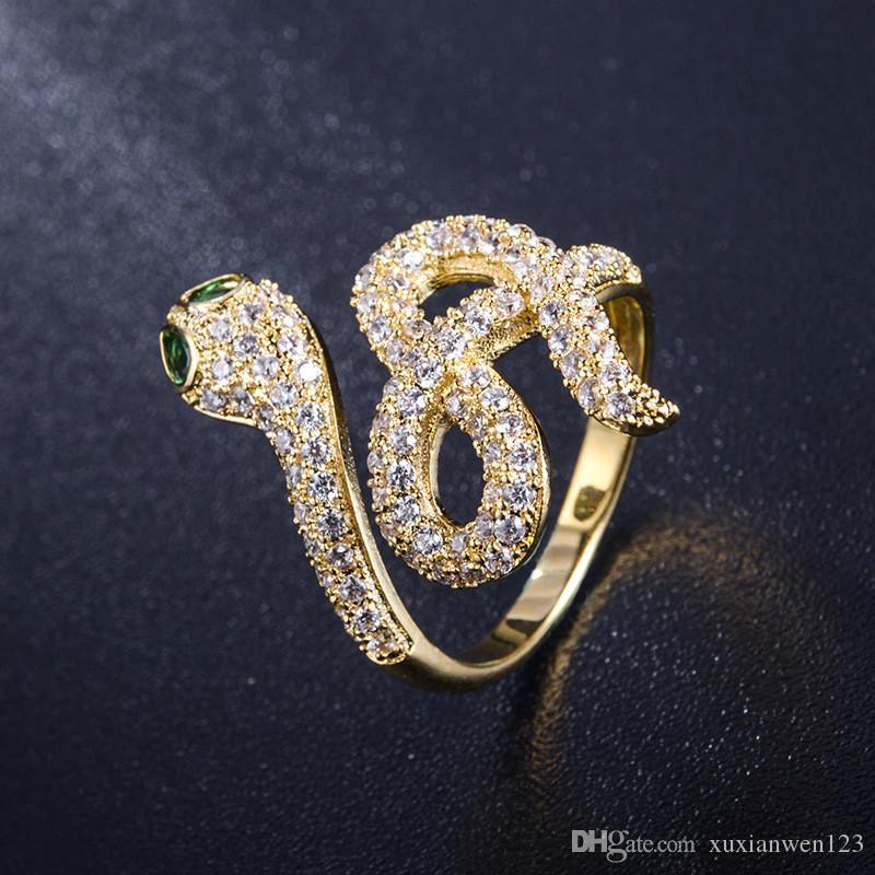 상자와 구리 블링 양질 크리스탈 뱀 링 골드 실버 반지 여성 힙합 반지 결혼 반지 소년에 대한 보석 선물