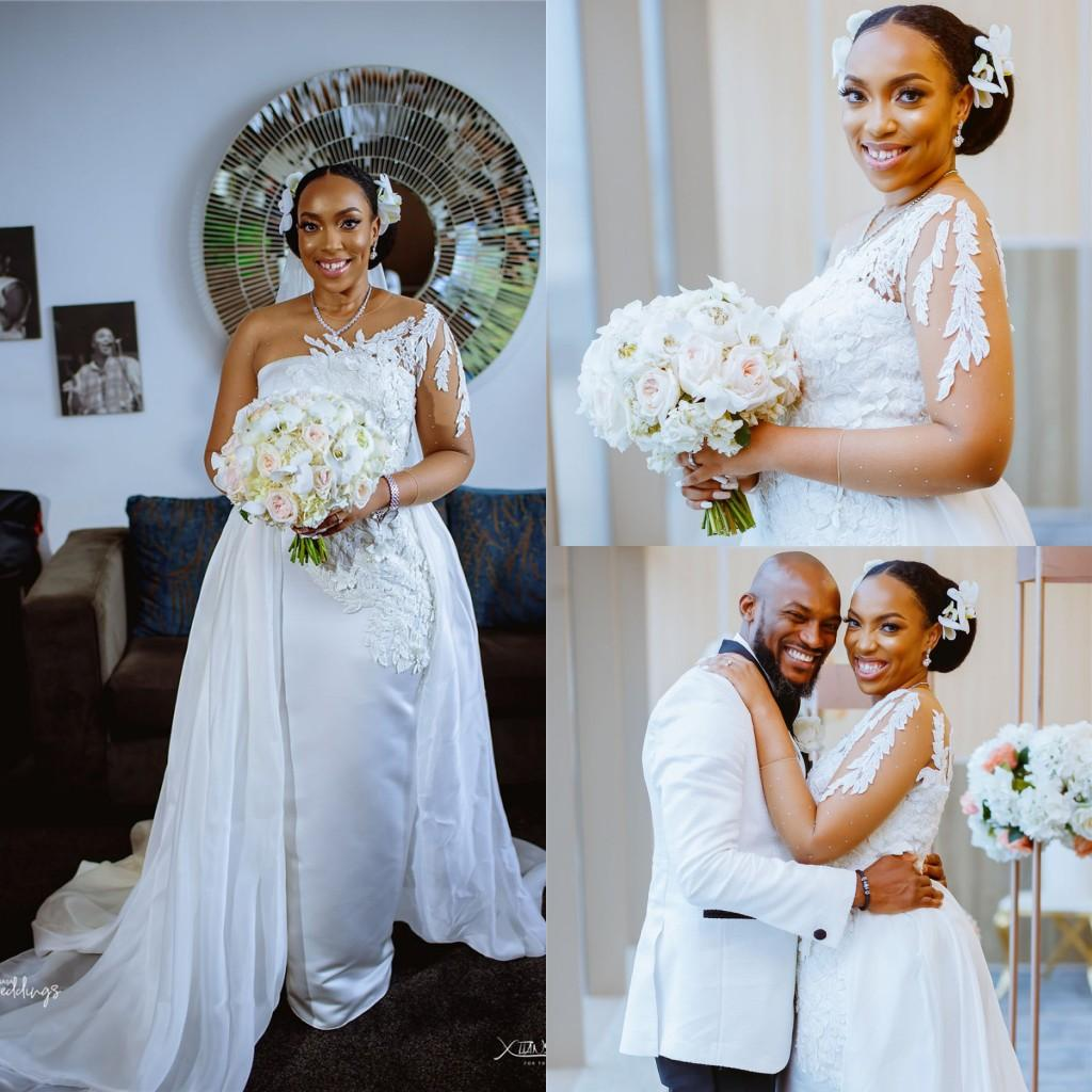 African One Shoulder Mermaid Wedding Dresses With Detachable Train Plus Size Lace Appliqued Long Sleeves Bridal Gown
